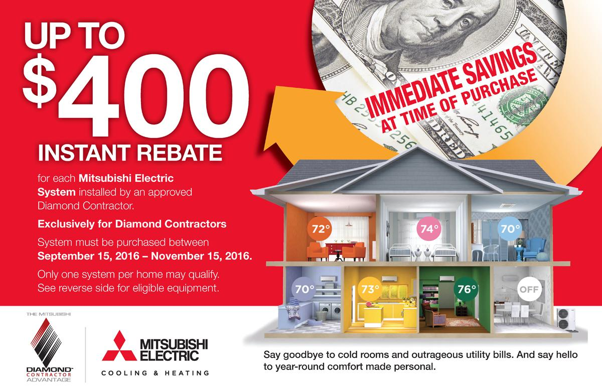 Mitsubishi Heating and Cooling fall promotional rebate through Tom Rostron in Monmouth and Ocean counties, NJ
