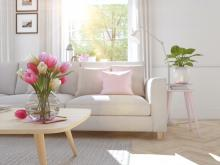 lovely minimalist home in spring with tulips