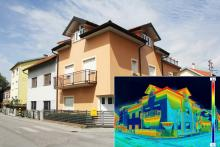 Image of a home with a smaller image of a thermal camera shot of the same home, part of the energy audit process with Tom Rostron