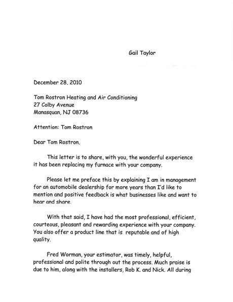 Gail Taylor's letter to Tom Rostron regarding their exemplary furnace installation.