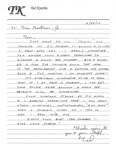 Ted Knothe's handwritten letter thanking Tom Rostron for an efficient A/C fix