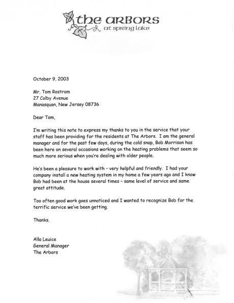 Alla Leuice's letter expresses gratitude to Tom Rostron for great service to elderly residents