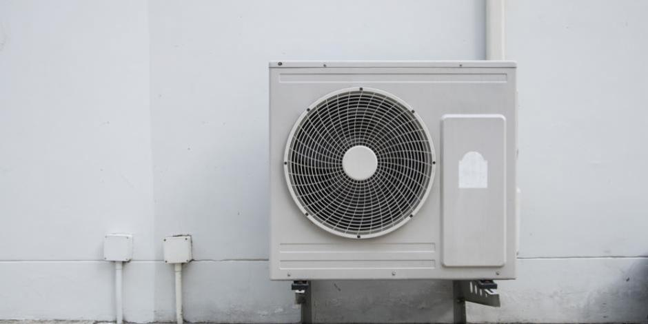 heat pump on exterior of building