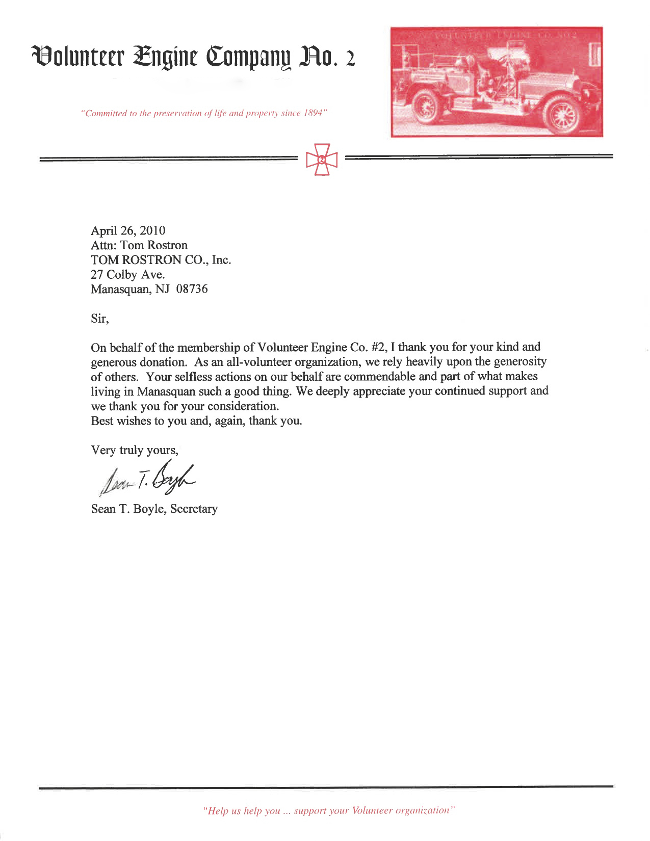 Selfless actions testimonial tom rostron monmouth nj sean t boyles letter to tom rostron thanking him for his generous donation aljukfo Image collections